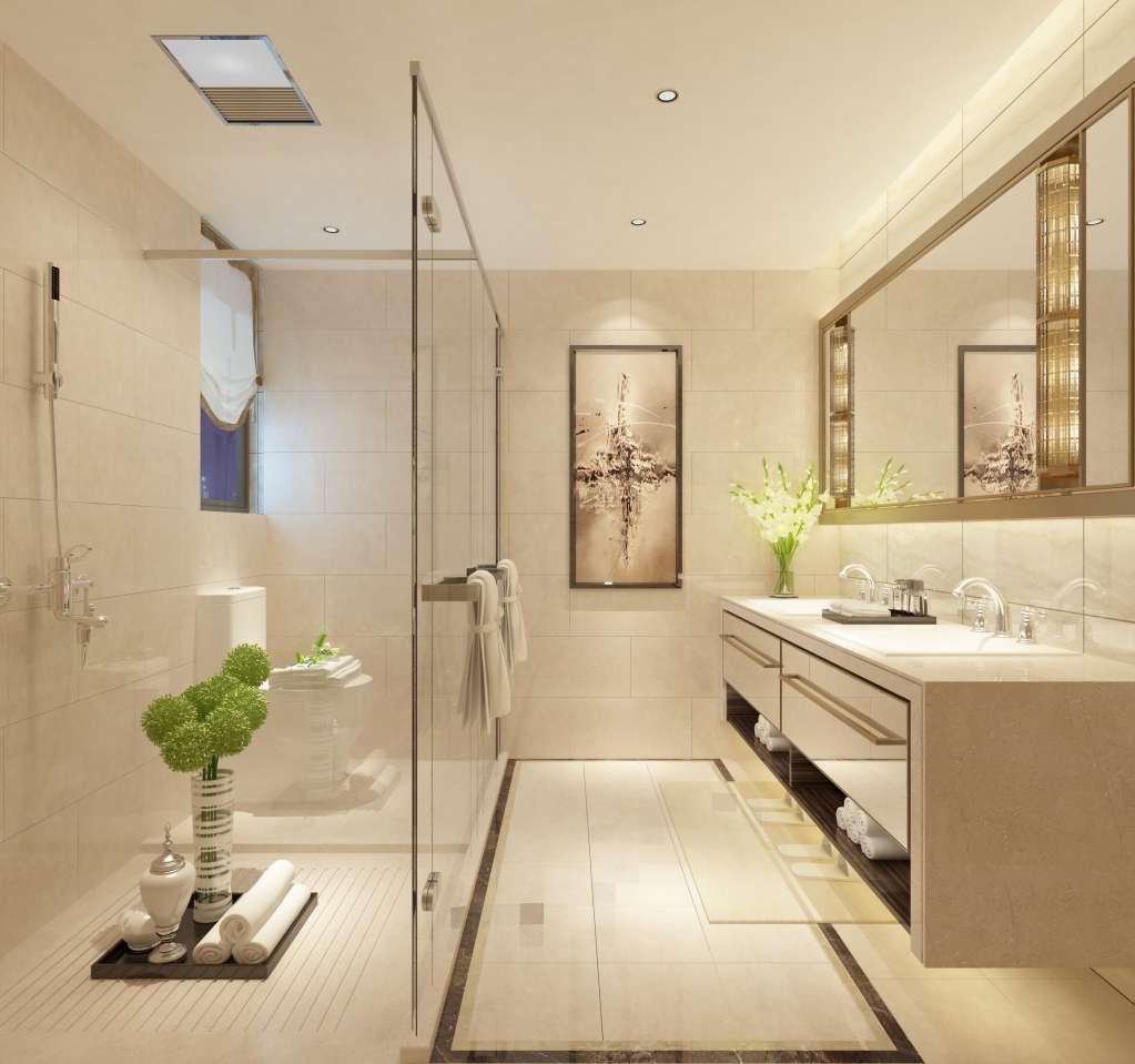 Chọn gạch lát nền phòng tắm đơn sắc nhẹ nhàng