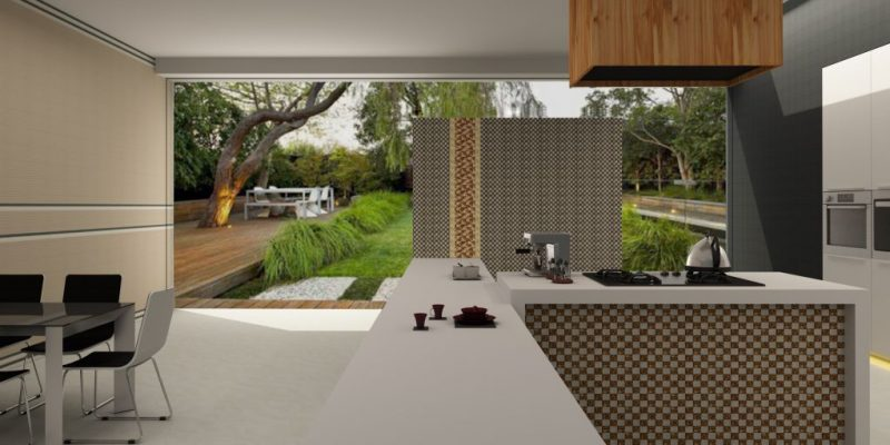 Chọn gạch lát nền phòng bếp gần gũi với thiên nhiên