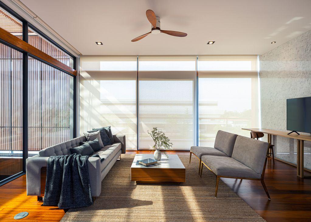 Đá thép và gỗ được sử dụng mang đến không gian ấm cúng