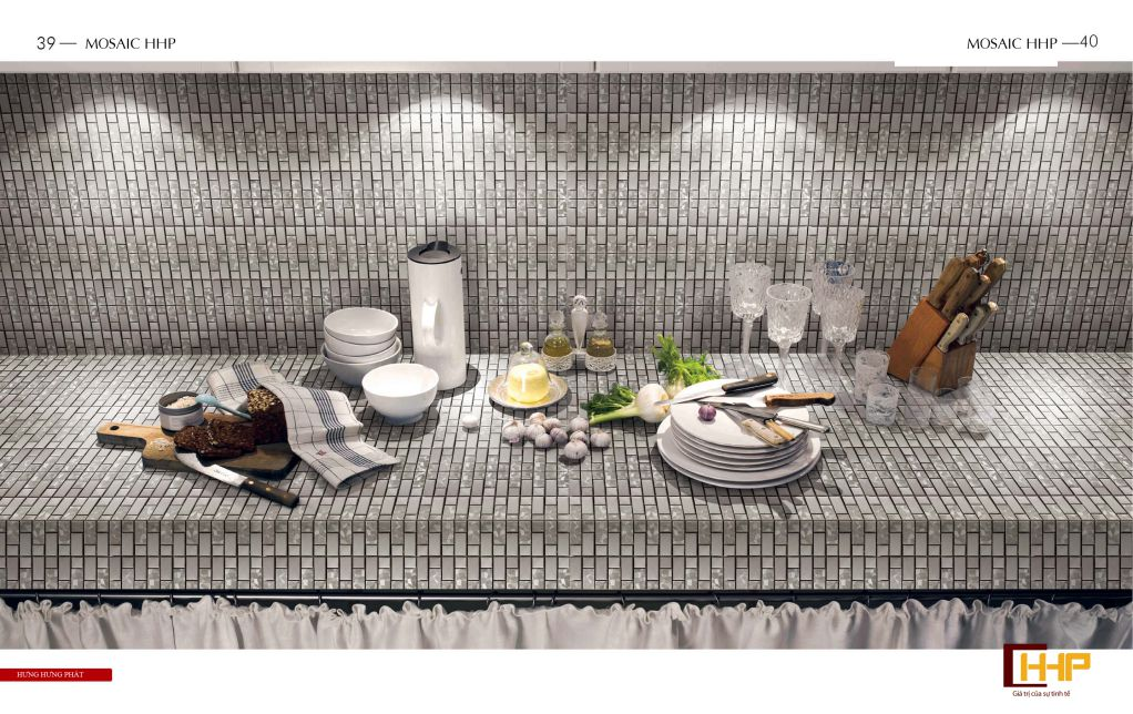 Kinh nghiệm sử dụng gạch mosaic ốp tường bếp